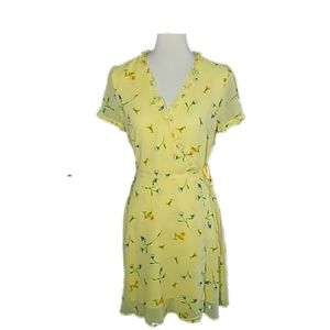 💐YELLOW FLORAL A WRAP AROUND DRESS
